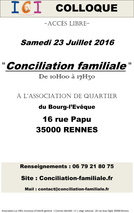 Affiche Colloque Conciliation Familiale 2016